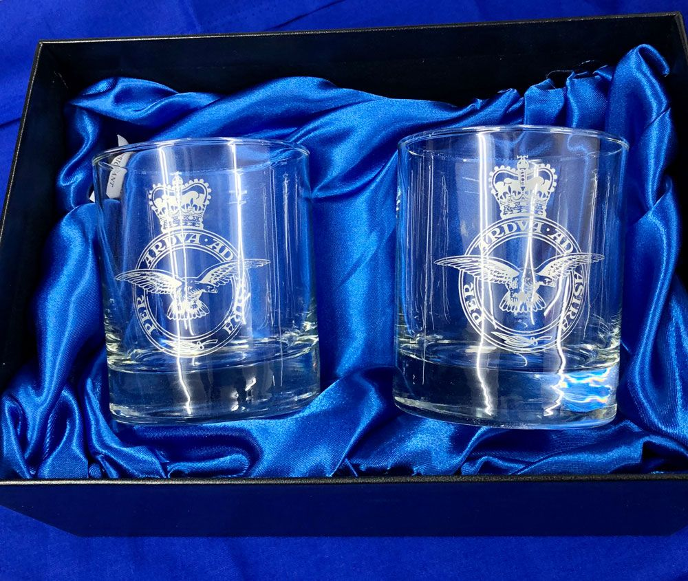 c88ee8dfa83 The RAF - A beautiful twin set of whisky glasses featuring the engraved  crest of the Royal Air Force. A wonderful gift or special occasion present.